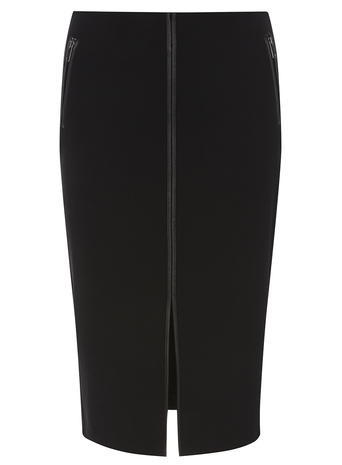 Womens Black Pu Trim Skirt Black - length: below the knee; pattern: plain; style: pencil; fit: tailored/fitted; waist: mid/regular rise; predominant colour: black; occasions: work; fibres: polyester/polyamide - 100%; pattern type: fabric; texture group: other - light to midweight; season: a/w 2015