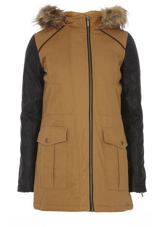 Womens Tan Faux Leather Sleeve Parka Coat Brown - length: below the bottom; collar: funnel; style: parka; back detail: hood; shoulder detail: contrast pattern/fabric at shoulder; predominant colour: tan; secondary colour: black; occasions: casual, creative work; fit: straight cut (boxy); fibres: cotton - 100%; hip detail: added detail/embellishment at hip; sleeve length: long sleeve; sleeve style: standard; texture group: cotton feel fabrics; collar break: high; pattern type: fabric; pattern size: standard; pattern: colourblock; season: a/w 2015