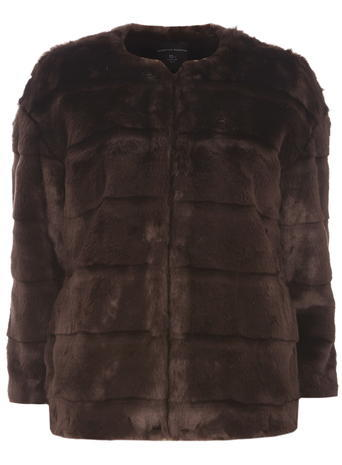 Womens Chocolate Faux Fur Short Coat Brown - pattern: plain; length: standard; collar: round collar/collarless; predominant colour: chocolate brown; occasions: evening; fit: straight cut (boxy); fibres: acrylic - mix; style: fur coat; sleeve length: 3/4 length; sleeve style: standard; texture group: fur; collar break: high; pattern type: fabric; season: a/w 2015; wardrobe: event
