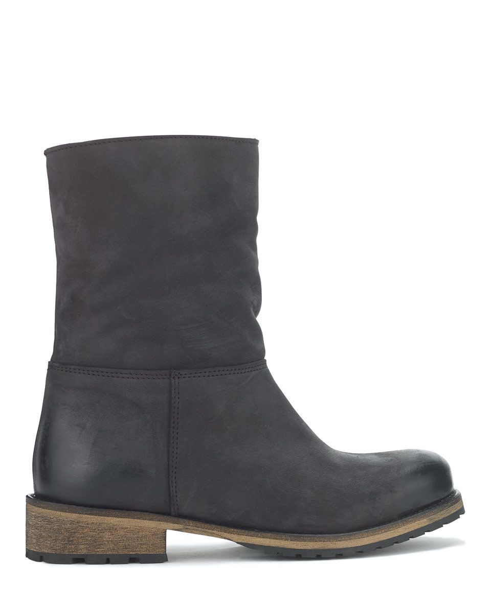 Georgia Shearling Outdoor Boot - predominant colour: navy; occasions: casual; material: leather; heel height: flat; heel: standard; toe: round toe; boot length: ankle boot; style: standard; finish: plain; pattern: plain; season: a/w 2015; wardrobe: basic