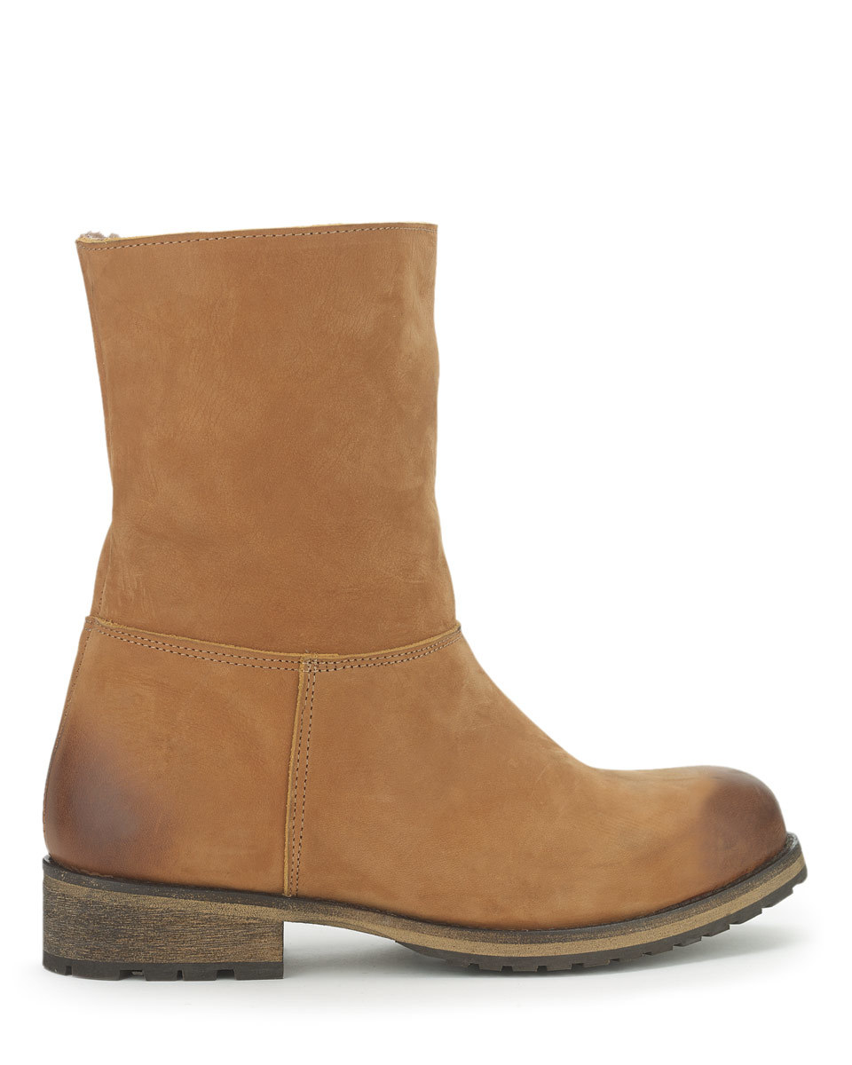 Georgia Shearling Outdoor Boot - predominant colour: tan; occasions: casual; material: suede; heel height: flat; heel: standard; toe: round toe; boot length: ankle boot; style: standard; finish: plain; pattern: plain; season: a/w 2015; wardrobe: highlight