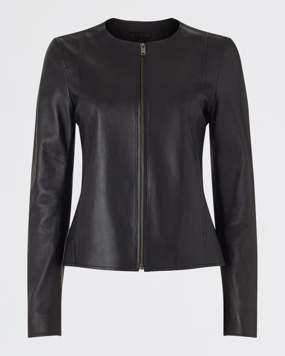 Clean Leather Jacket - pattern: plain; style: biker; collar: standard biker; predominant colour: black; occasions: casual; length: standard; fit: tailored/fitted; fibres: leather - 100%; sleeve length: long sleeve; sleeve style: standard; texture group: leather; collar break: high/illusion of break when open; pattern type: fabric; season: a/w 2015; wardrobe: basic