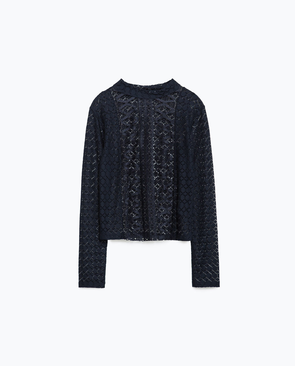 Lace T Shirt - neckline: high neck; predominant colour: navy; occasions: casual, creative work; length: standard; style: top; fibres: polyester/polyamide - 100%; fit: straight cut; sleeve length: long sleeve; sleeve style: standard; texture group: lace; pattern type: fabric; pattern size: standard; pattern: patterned/print; season: a/w 2015; wardrobe: highlight