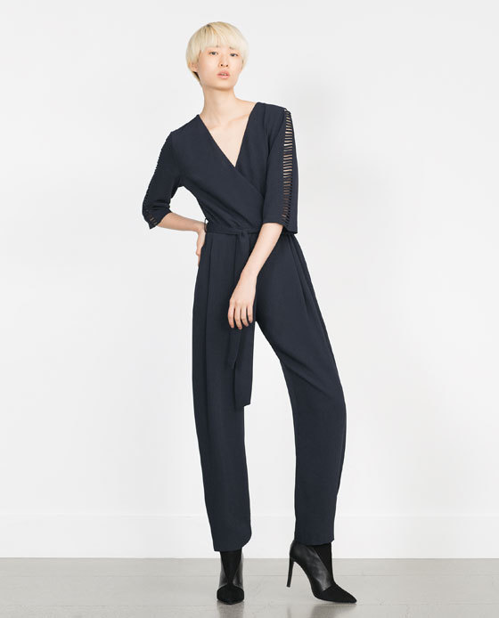 Long Crossover Jumpsuit - length: standard; neckline: v-neck; fit: tailored/fitted; pattern: plain; predominant colour: charcoal; occasions: evening; fibres: polyester/polyamide - 100%; sleeve length: 3/4 length; sleeve style: standard; texture group: crepes; style: jumpsuit; season: a/w 2015; wardrobe: event
