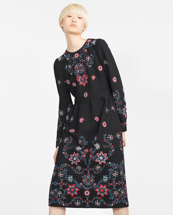 Long Embroidered Dress - style: shift; length: below the knee; fit: fitted at waist; secondary colour: hot pink; predominant colour: black; fibres: cotton - 100%; neckline: crew; sleeve length: long sleeve; sleeve style: standard; texture group: sheer fabrics/chiffon/organza etc.; pattern type: fabric; pattern size: standard; pattern: florals; embellishment: embroidered; occasions: creative work; multicoloured: multicoloured; season: a/w 2015; wardrobe: highlight