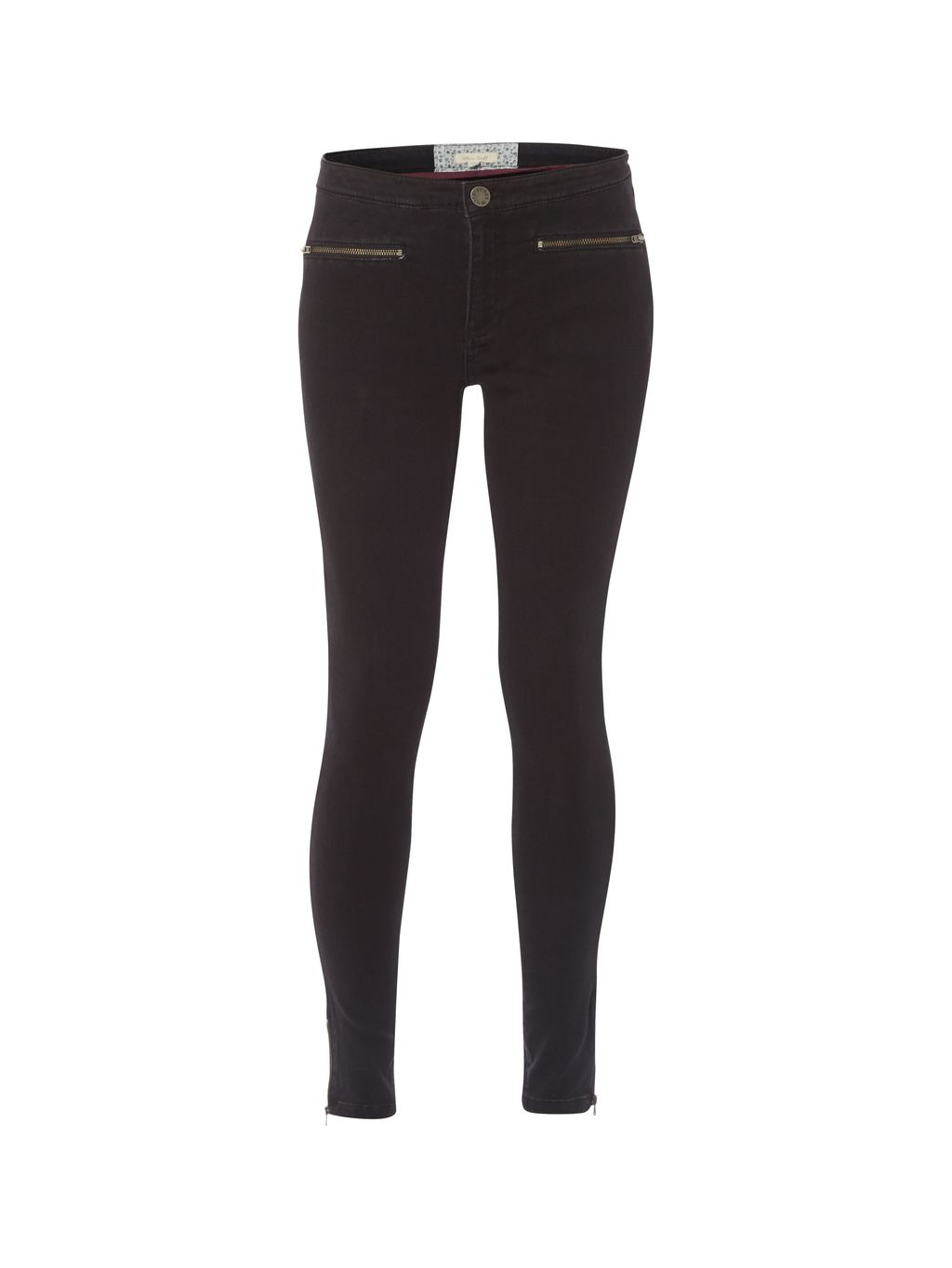 Jenny Zip Legging, Grey - length: standard; pattern: plain; style: leggings; waist: mid/regular rise; predominant colour: charcoal; occasions: casual, creative work; fit: skinny/tight leg; pattern type: fabric; texture group: jersey - stretchy/drapey; season: a/w 2015; wardrobe: basic