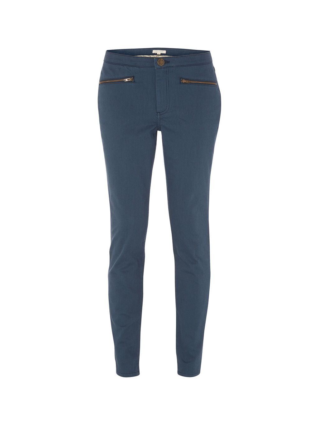Nomad Ankle Zip Trouser, Navy - length: standard; pattern: plain; waist: mid/regular rise; predominant colour: denim; occasions: casual, creative work; fibres: cotton - stretch; texture group: cotton feel fabrics; fit: slim leg; pattern type: fabric; style: standard; season: a/w 2015; wardrobe: highlight