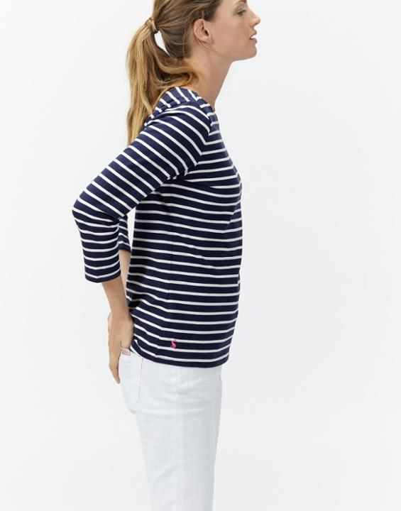 Hope Stripe French Navy Harbour Jersey Top Size 6 | Uk - pattern: horizontal stripes; secondary colour: white; predominant colour: navy; occasions: casual, creative work; length: standard; style: top; fibres: cotton - 100%; fit: body skimming; neckline: crew; sleeve length: 3/4 length; sleeve style: standard; pattern type: fabric; pattern size: standard; texture group: jersey - stretchy/drapey; season: a/w 2015; wardrobe: basic