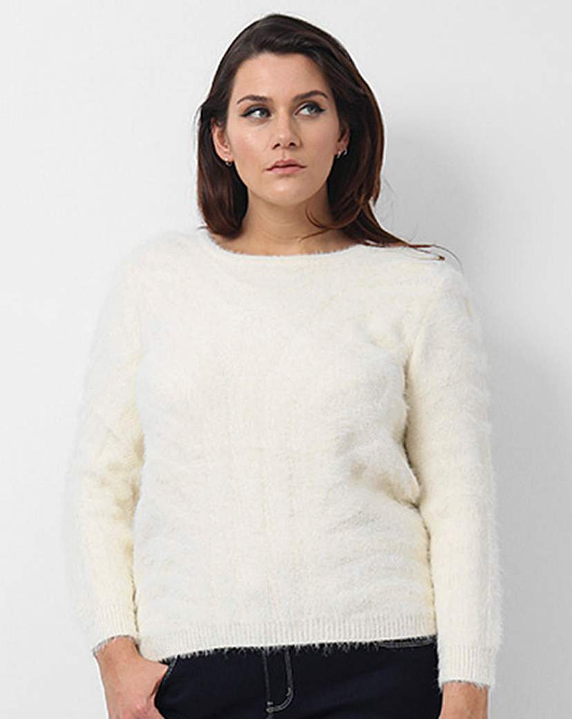 Koko Textured Jumper - neckline: round neck; pattern: plain; style: standard; predominant colour: ivory/cream; occasions: casual, creative work; length: standard; fibres: acrylic - 100%; fit: standard fit; sleeve length: long sleeve; sleeve style: standard; texture group: knits/crochet; pattern type: knitted - other; season: a/w 2015; wardrobe: basic