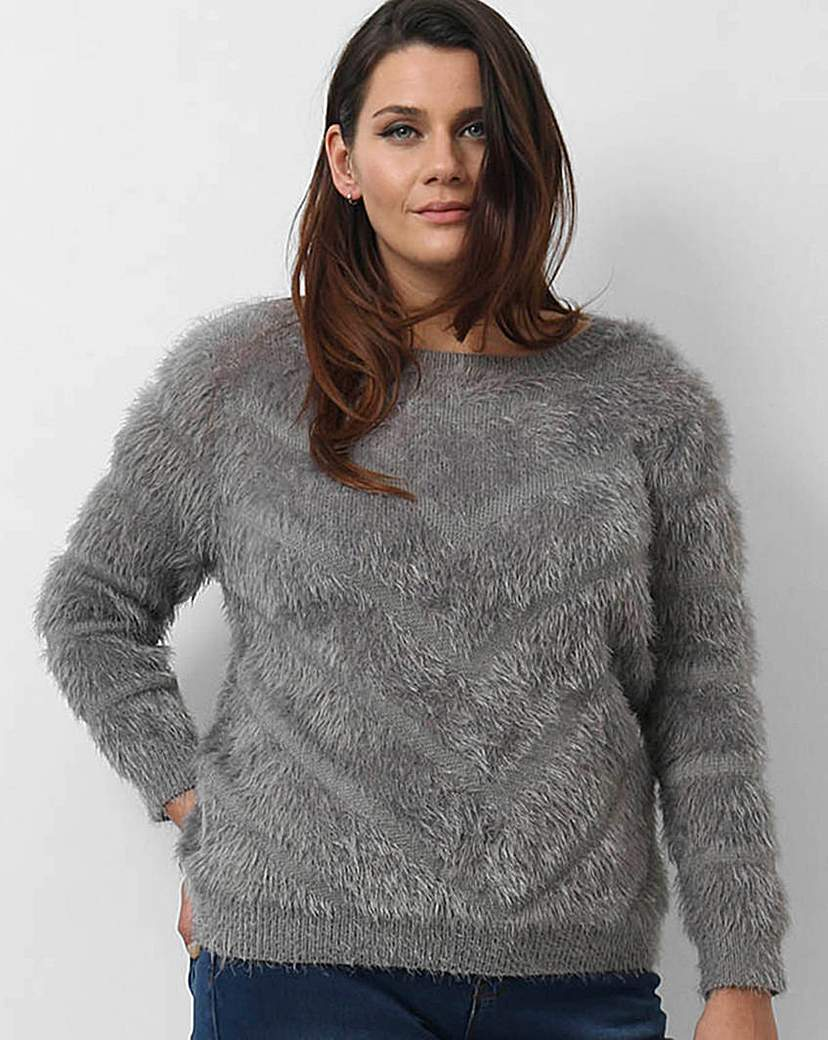 Koko Fluffy Jumper - neckline: round neck; pattern: plain; style: standard; predominant colour: mid grey; occasions: casual; length: standard; fibres: acrylic - mix; fit: standard fit; sleeve length: long sleeve; sleeve style: standard; texture group: knits/crochet; pattern type: knitted - other; season: a/w 2015; trends: warm and fuzzy; wardrobe: basic