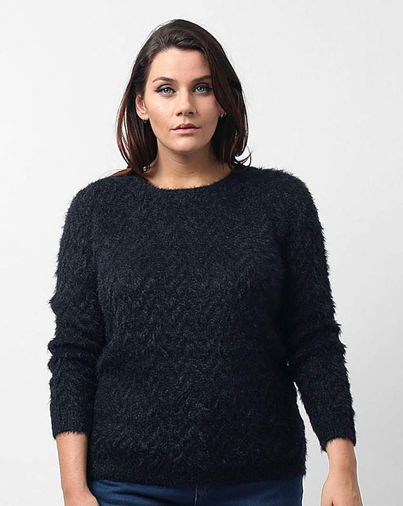 Koko Round Neck Jumper - pattern: plain; style: standard; predominant colour: navy; occasions: casual, creative work; length: standard; fibres: acrylic - 100%; fit: standard fit; neckline: crew; sleeve length: long sleeve; sleeve style: standard; texture group: knits/crochet; pattern type: knitted - other; season: a/w 2015; wardrobe: basic