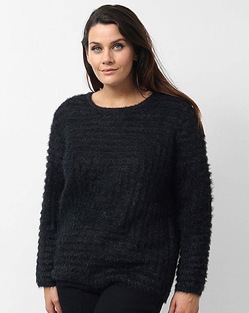 Koko Textured Jumper - neckline: round neck; pattern: plain; style: standard; predominant colour: black; occasions: casual, creative work; length: standard; fibres: cotton - mix; fit: standard fit; sleeve length: long sleeve; sleeve style: standard; texture group: knits/crochet; pattern type: knitted - other; season: a/w 2015; wardrobe: basic