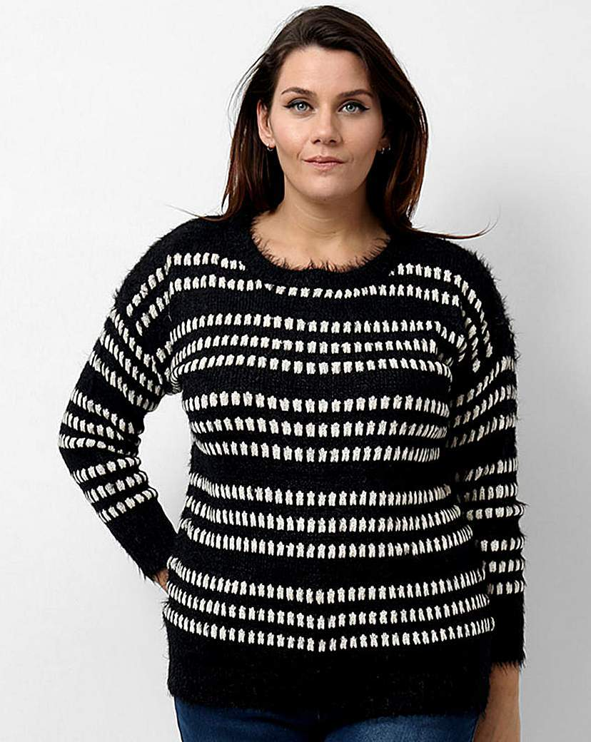 Koko Abstract Pattern Jumper - neckline: round neck; pattern: horizontal stripes; style: standard; secondary colour: white; predominant colour: black; occasions: casual, creative work; length: standard; fibres: acrylic - mix; fit: standard fit; sleeve length: long sleeve; sleeve style: standard; trends: monochrome; texture group: knits/crochet; pattern type: knitted - other; pattern size: standard; season: a/w 2015; wardrobe: highlight