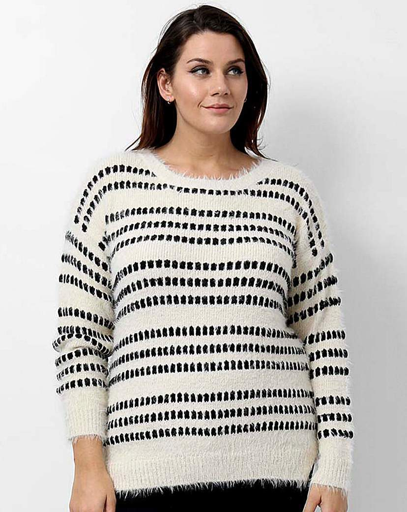 Koko Abstract Pattern Jumper - neckline: round neck; pattern: horizontal stripes; style: standard; predominant colour: ivory/cream; secondary colour: black; occasions: casual, creative work; length: standard; fit: standard fit; sleeve length: long sleeve; sleeve style: standard; texture group: knits/crochet; pattern type: knitted - fine stitch; pattern size: big & busy (top); season: a/w 2015