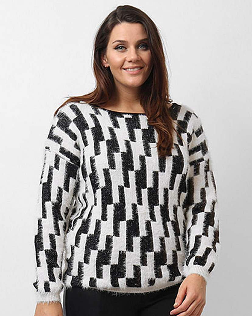 Koko Geometric Jumper - neckline: slash/boat neckline; style: standard; secondary colour: white; predominant colour: black; occasions: casual, creative work; length: standard; fibres: cotton - mix; fit: standard fit; sleeve length: long sleeve; sleeve style: standard; trends: monochrome; texture group: knits/crochet; pattern type: knitted - other; pattern size: standard; pattern: patterned/print; season: a/w 2015; wardrobe: highlight