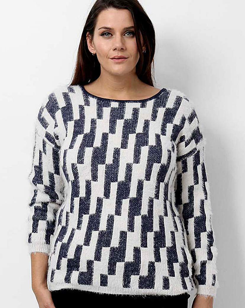 Koko Geometric Jumper - neckline: round neck; style: standard; secondary colour: white; predominant colour: black; occasions: casual, creative work; length: standard; fit: standard fit; sleeve length: long sleeve; sleeve style: standard; texture group: knits/crochet; pattern type: knitted - fine stitch; pattern: patterned/print; pattern size: big & busy (top); season: a/w 2015; wardrobe: highlight