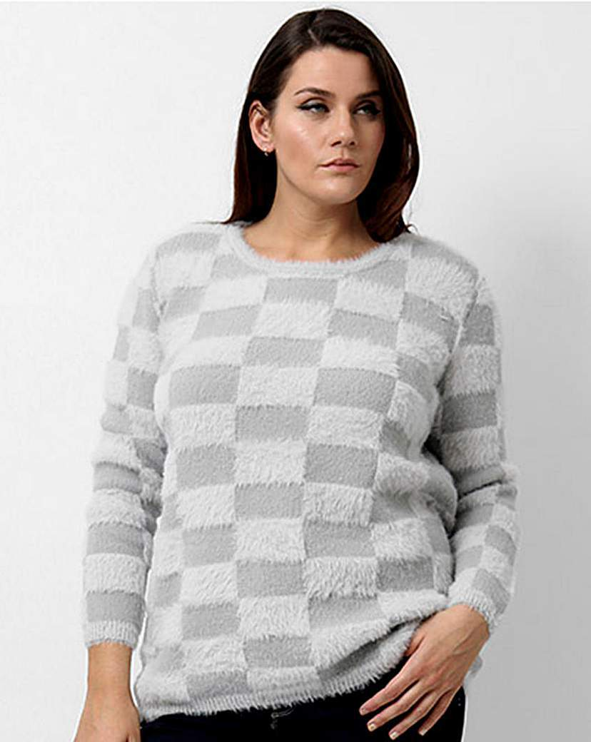 Koko Check Jumper - pattern: checked/gingham; style: standard; predominant colour: mid grey; secondary colour: light grey; occasions: casual; length: standard; fibres: acrylic - mix; fit: slim fit; neckline: crew; sleeve length: long sleeve; sleeve style: standard; texture group: knits/crochet; pattern type: fabric; multicoloured: multicoloured; season: a/w 2015