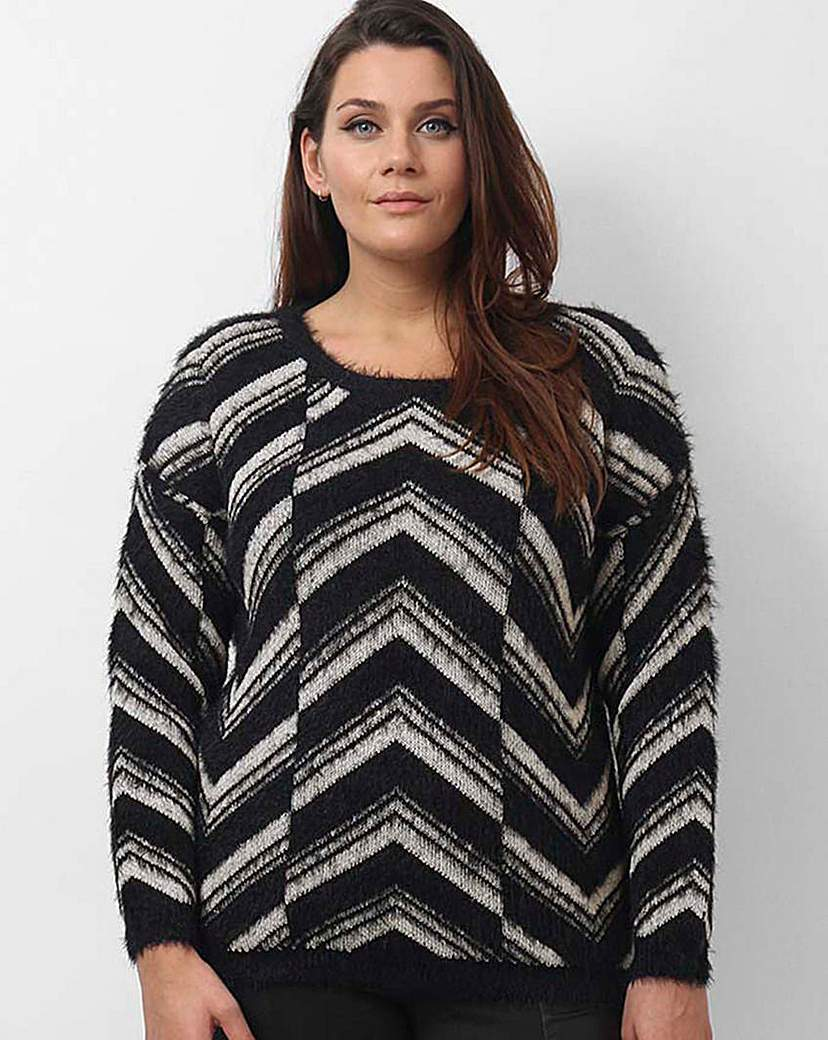 Koko Zig Zag Jumper - style: standard; secondary colour: white; predominant colour: black; occasions: casual; length: standard; fibres: acrylic - mix; fit: loose; neckline: crew; sleeve length: long sleeve; sleeve style: standard; texture group: knits/crochet; pattern type: fabric; pattern: patterned/print; multicoloured: multicoloured; season: a/w 2015; wardrobe: highlight