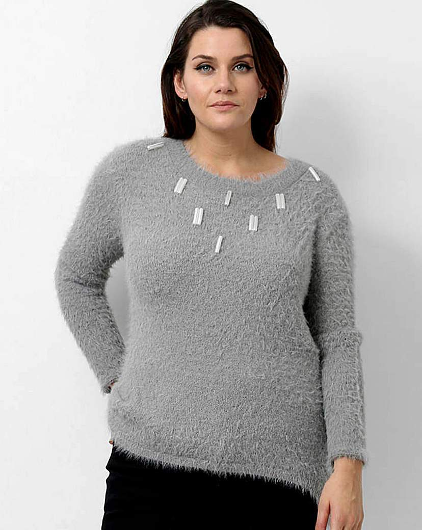 Koko Embellished Jumper - pattern: plain; style: standard; predominant colour: light grey; occasions: casual; length: standard; fibres: acrylic - mix; fit: slim fit; neckline: crew; sleeve length: long sleeve; sleeve style: standard; texture group: knits/crochet; pattern type: knitted - fine stitch; embellishment: beading; season: a/w 2015; wardrobe: highlight; embellishment location: neck