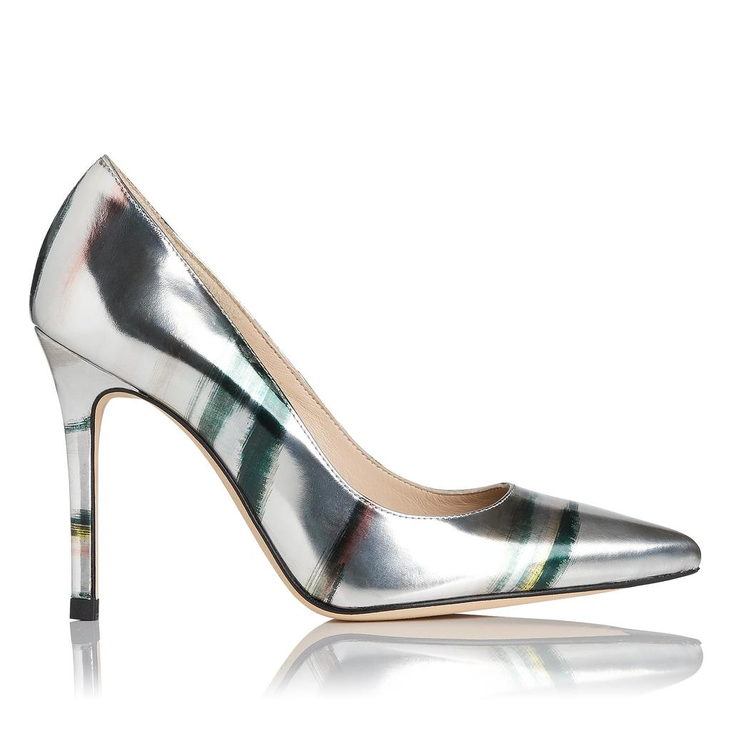 Fern Metallic Leather Courts - secondary colour: emerald green; predominant colour: silver; occasions: evening, occasion; material: leather; heel height: high; heel: stiletto; toe: pointed toe; style: courts; finish: metallic; pattern: striped; season: a/w 2015; wardrobe: event