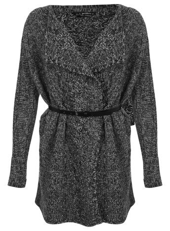 Womens Petite Long Sleeve Cardigan, Grey - neckline: v-neck; pattern: plain; length: below the bottom; predominant colour: charcoal; occasions: casual, work, creative work; style: standard; fibres: acrylic - 100%; fit: loose; waist detail: belted waist/tie at waist/drawstring; sleeve length: long sleeve; sleeve style: standard; texture group: knits/crochet; pattern type: knitted - fine stitch; season: a/w 2015; wardrobe: basic