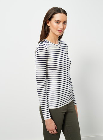 Womens Navy Stripe Button Jumper, Navy - pattern: horizontal stripes; style: standard; predominant colour: white; secondary colour: navy; occasions: casual, creative work; length: standard; fibres: acrylic - mix; fit: slim fit; neckline: crew; sleeve length: long sleeve; sleeve style: standard; texture group: knits/crochet; pattern type: knitted - fine stitch; season: a/w 2015; wardrobe: highlight