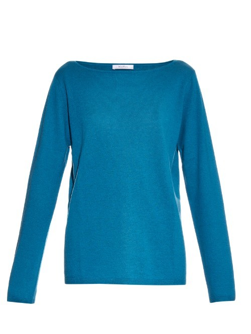 Mondo Sweater - neckline: slash/boat neckline; pattern: plain; style: standard; predominant colour: diva blue; occasions: casual, work, creative work; length: standard; fit: standard fit; fibres: cashmere - 100%; sleeve length: long sleeve; sleeve style: standard; texture group: knits/crochet; pattern type: knitted - fine stitch; season: a/w 2015