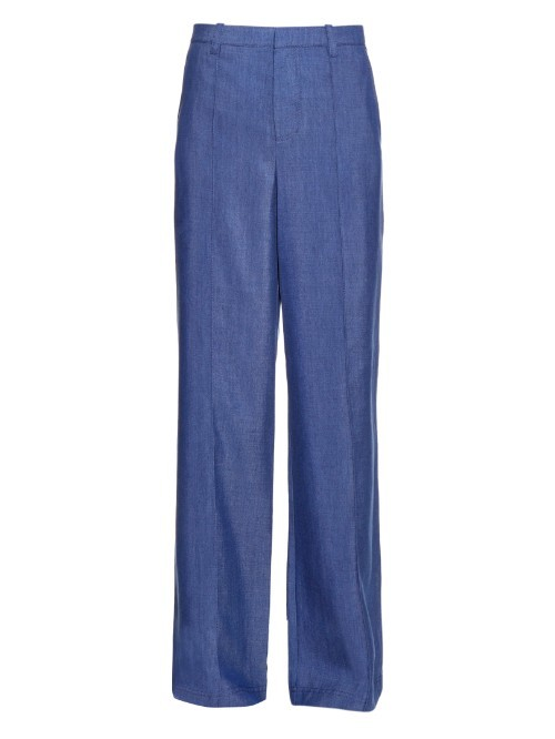 High Rise Wide Leg Chambray Trousers - length: standard; pattern: plain; waist: high rise; predominant colour: royal blue; occasions: casual, creative work; fibres: polyester/polyamide - 100%; texture group: cotton feel fabrics; fit: wide leg; pattern type: fabric; style: standard; season: a/w 2015; wardrobe: highlight
