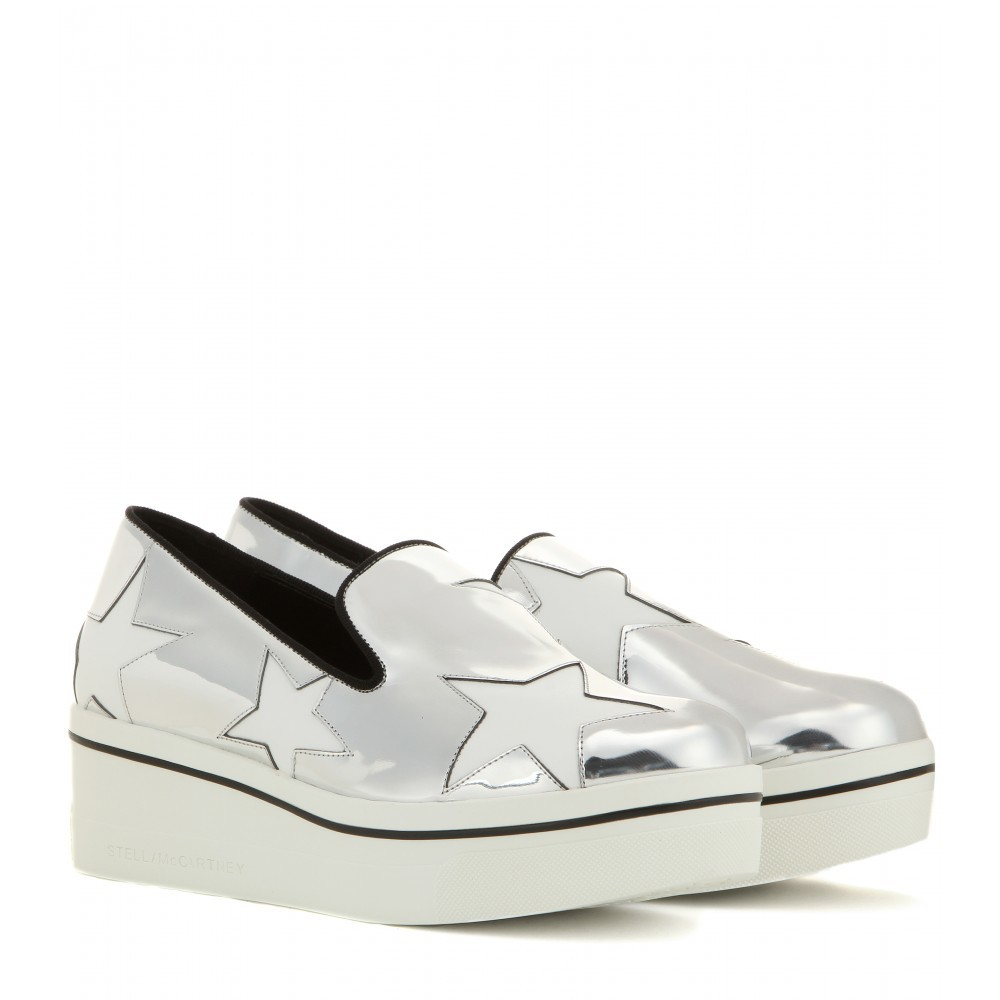 Metallic Platform Slip On Sneakers - secondary colour: white; predominant colour: black; occasions: casual; material: leather; heel height: flat; toe: round toe; finish: metallic; pattern: colourblock; shoe detail: moulded soul; style: skate shoes; season: a/w 2015