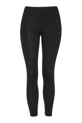 Calf Length Leggings - pattern: plain; style: leggings; waist: mid/regular rise; predominant colour: black; occasions: casual; length: ankle length; fibres: viscose/rayon - stretch; texture group: jersey - clingy; fit: skinny/tight leg; pattern type: fabric; season: a/w 2015; wardrobe: basic