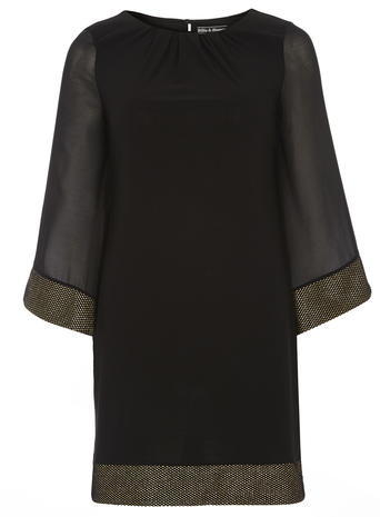 Womens **Billie & Blossom Black Kimono Sleeve Dress Black - style: shift; length: mid thigh; neckline: round neck; pattern: plain; predominant colour: black; occasions: evening; fit: body skimming; fibres: polyester/polyamide - stretch; sleeve length: 3/4 length; sleeve style: standard; texture group: crepes; pattern type: fabric; season: a/w 2015; wardrobe: event