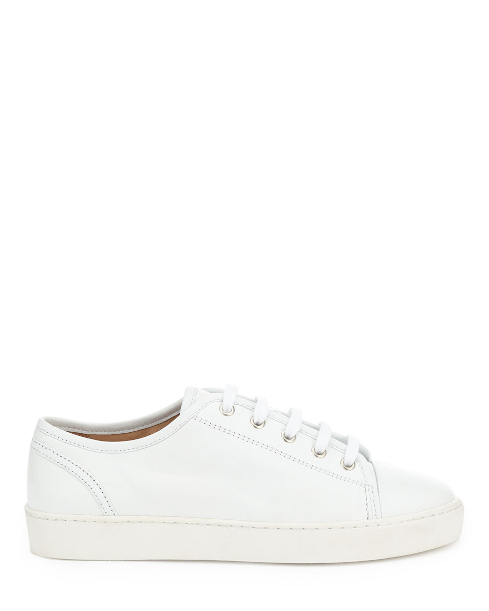 Ayda Leather Trainers - predominant colour: white; occasions: casual, activity; material: leather; heel height: flat; toe: round toe; style: trainers; finish: plain; pattern: plain; season: a/w 2015