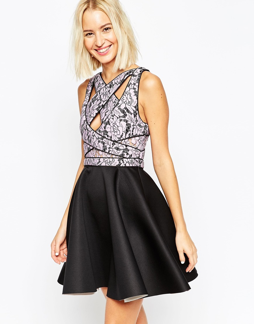 Cross Strap Lace Bodice Mini Skater Dress Black/Purple - length: mini; neckline: v-neck; sleeve style: sleeveless; style: prom dress; secondary colour: white; predominant colour: black; occasions: evening, occasion; fit: fitted at waist & bust; fibres: polyester/polyamide - 100%; hip detail: subtle/flattering hip detail; sleeve length: sleeveless; pattern type: fabric; pattern size: standard; pattern: florals; texture group: other - light to midweight; embellishment: lace; season: a/w 2015; wardrobe: event; embellishment location: top