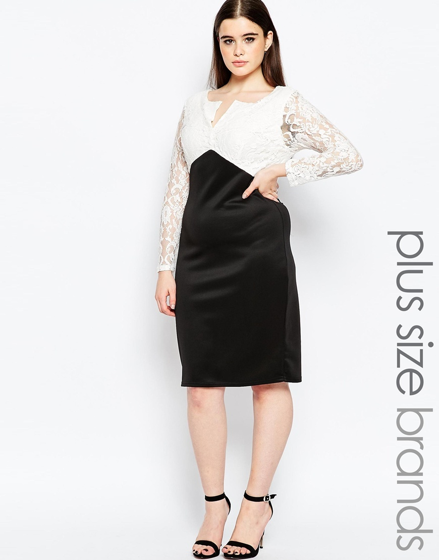 Plus Size Midi Dress With Lace Top And Open Neck Black/White - style: shift; neckline: v-neck; fit: tailored/fitted; secondary colour: white; predominant colour: black; occasions: evening, occasion; length: on the knee; fibres: polyester/polyamide - 100%; sleeve length: long sleeve; sleeve style: standard; trends: monochrome; texture group: structured shiny - satin/tafetta/silk etc.; pattern type: fabric; pattern size: standard; pattern: colourblock; embellishment: lace; shoulder detail: sheer at shoulder; season: a/w 2015; wardrobe: event; embellishment location: bust