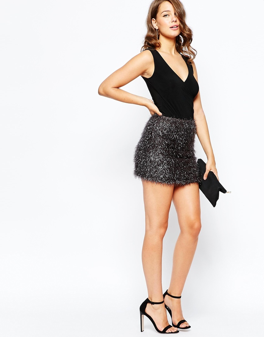 Tinsel Treat Skirt Silver - length: mini; pattern: plain; fit: body skimming; waist: high rise; occasions: evening; style: mini skirt; pattern type: fabric; texture group: other - light to midweight; predominant colour: pewter; season: a/w 2015