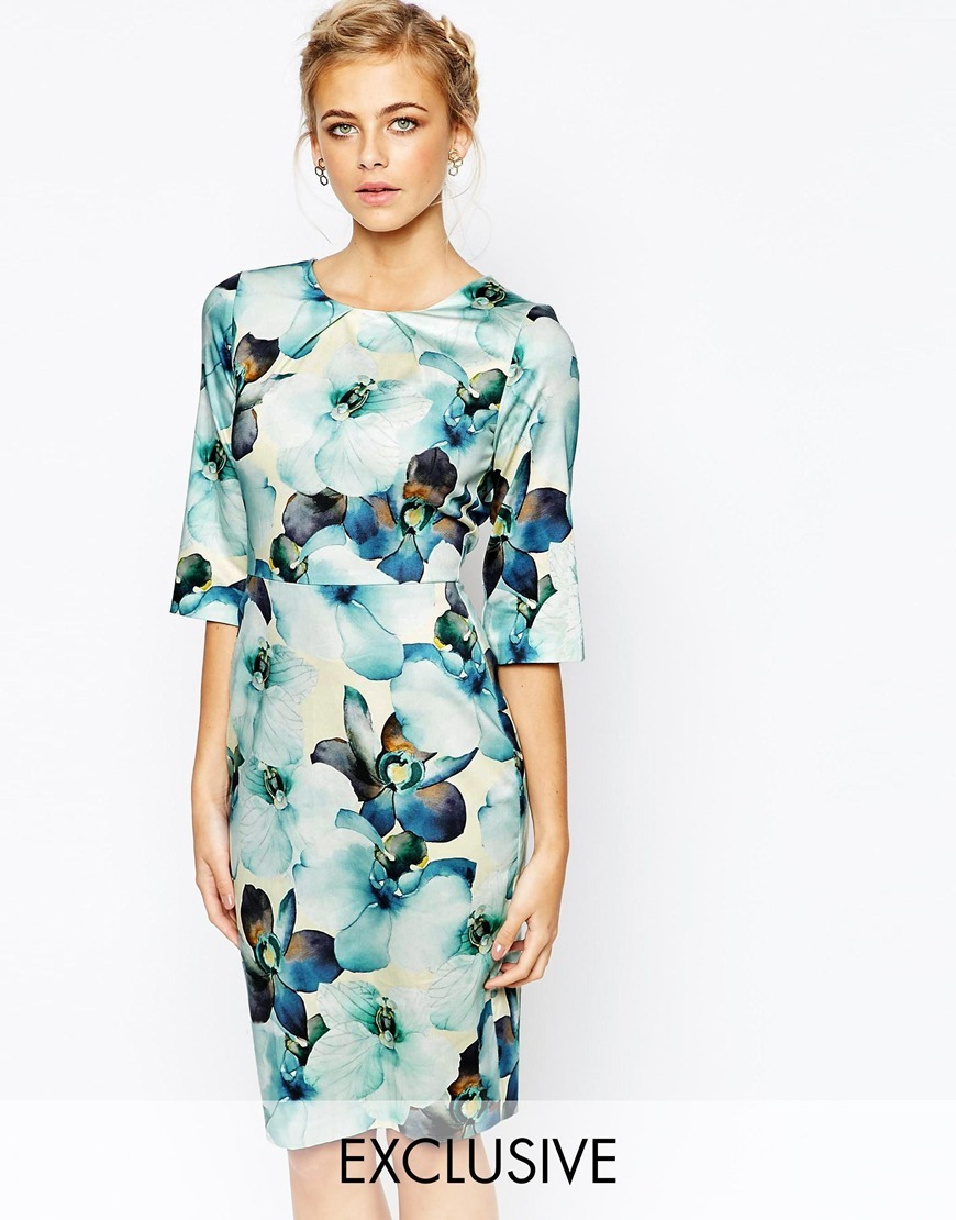 Closet Floral Print Midi Dress With 3/4 Sleeve Overscale Floral - style: shift; length: below the knee; predominant colour: pale blue; secondary colour: chocolate brown; occasions: evening; fit: body skimming; fibres: cotton - stretch; neckline: crew; sleeve length: 3/4 length; sleeve style: standard; pattern type: fabric; pattern: florals; texture group: woven light midweight; multicoloured: multicoloured; season: a/w 2015; wardrobe: event