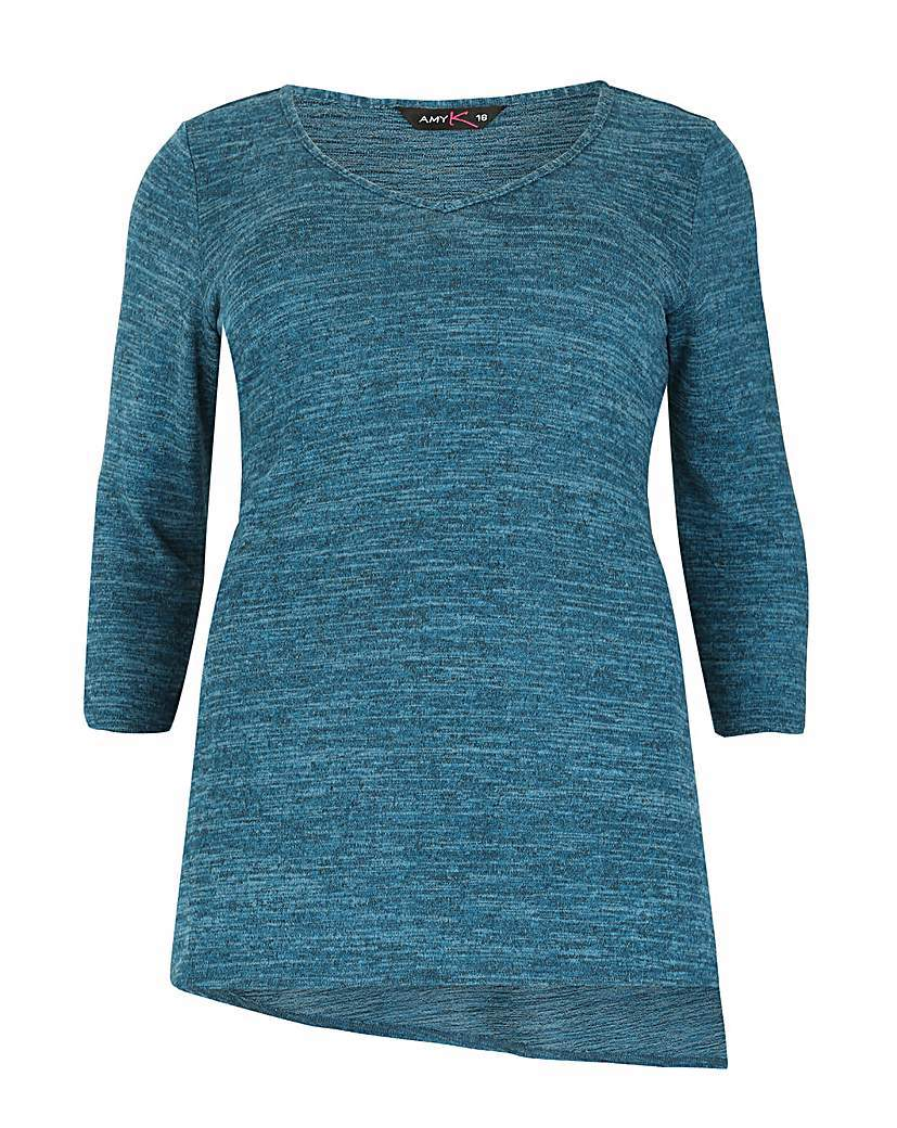 Amy K Asymmetric Jersey Top - neckline: round neck; style: t-shirt; sleeve style: balloon; predominant colour: turquoise; occasions: casual; length: standard; fibres: polyester/polyamide - stretch; fit: body skimming; sleeve length: 3/4 length; texture group: jersey - clingy; pattern type: fabric; pattern size: light/subtle; pattern: marl; season: a/w 2015