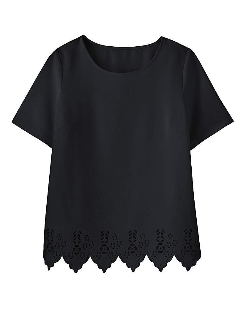Cutwork Shell Top - pattern: plain; predominant colour: navy; occasions: casual, creative work; length: standard; style: top; fibres: polyester/polyamide - 100%; fit: straight cut; neckline: crew; sleeve length: short sleeve; sleeve style: standard; pattern type: fabric; texture group: other - light to midweight; season: a/w 2015