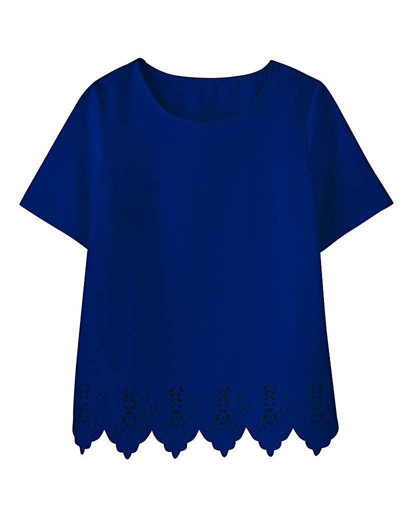 Cutwork Shell Top - neckline: round neck; pattern: plain; predominant colour: navy; occasions: evening, creative work; length: standard; style: top; fibres: polyester/polyamide - 100%; fit: straight cut; sleeve length: short sleeve; sleeve style: standard; pattern type: fabric; texture group: other - light to midweight; season: a/w 2015