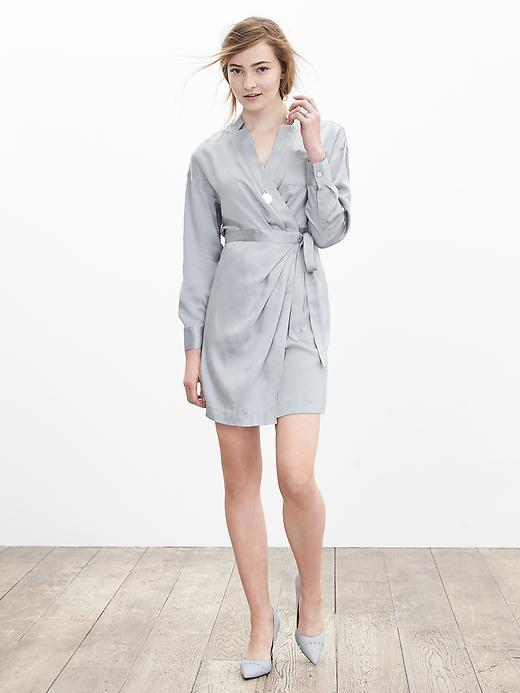 Silk Wrap Shirtdress Sidewalk Gray - style: faux wrap/wrap; length: mid thigh; neckline: v-neck; fit: fitted at waist; pattern: plain; waist detail: belted waist/tie at waist/drawstring; predominant colour: light grey; occasions: casual, creative work; fibres: silk - 100%; sleeve length: long sleeve; sleeve style: standard; texture group: silky - light; pattern type: fabric; season: a/w 2015; wardrobe: basic