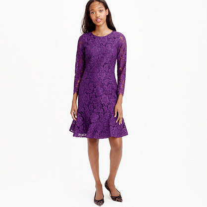 Long Sleeve Dress In Floral Lace - style: shift; fit: tailored/fitted; pattern: plain; predominant colour: purple; occasions: evening; length: just above the knee; fibres: cotton - mix; neckline: crew; sleeve length: 3/4 length; sleeve style: standard; texture group: lace; pattern type: fabric; season: a/w 2015; wardrobe: event