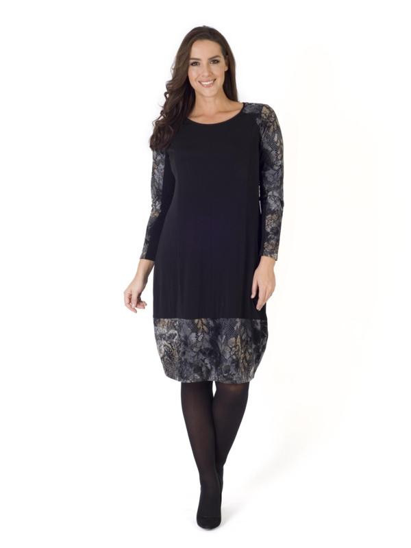 Black Flock Print Jersey Trim Dress - style: shift; neckline: round neck; secondary colour: ivory/cream; predominant colour: navy; occasions: evening; length: on the knee; fit: body skimming; fibres: polyester/polyamide - stretch; sleeve length: long sleeve; sleeve style: standard; pattern type: fabric; pattern: florals; texture group: jersey - stretchy/drapey; multicoloured: multicoloured; season: a/w 2015; wardrobe: event