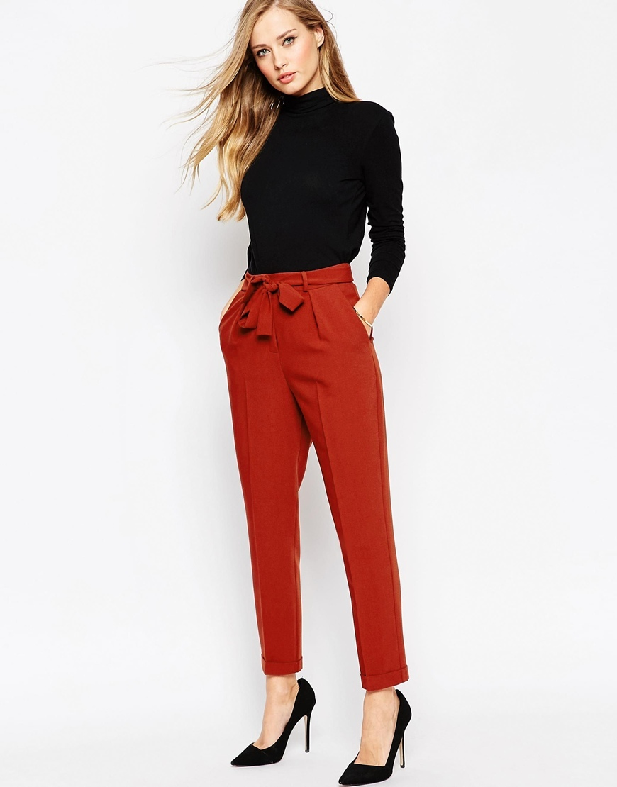 Woven Peg Trousers With Obi Tie Black - pattern: plain; style: peg leg; waist: high rise; waist detail: belted waist/tie at waist/drawstring; predominant colour: terracotta; occasions: casual, creative work; length: ankle length; fibres: polyester/polyamide - 100%; texture group: crepes; fit: tapered; pattern type: fabric; season: a/w 2015