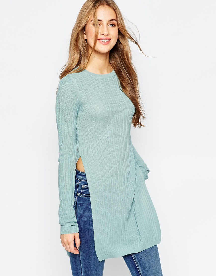 Longline Tunic In Rib With Side Splits Mint - pattern: plain; length: below the bottom; style: tunic; hip detail: draws attention to hips; predominant colour: pale blue; occasions: casual; fibres: acrylic - 100%; fit: body skimming; neckline: crew; sleeve length: long sleeve; sleeve style: standard; pattern type: fabric; texture group: other - light to midweight; season: a/w 2015; wardrobe: highlight