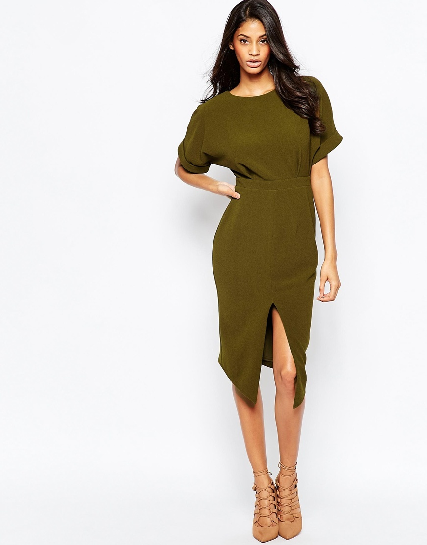 Wiggle Dress With Split Front Khaki - style: shift; length: below the knee; pattern: plain; hip detail: draws attention to hips; predominant colour: khaki; occasions: evening; fit: body skimming; fibres: polyester/polyamide - stretch; neckline: crew; sleeve length: short sleeve; sleeve style: standard; pattern type: fabric; texture group: jersey - stretchy/drapey; season: a/w 2015; wardrobe: event