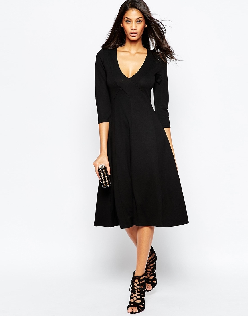 Ponte Midi Dress Black - style: shift; length: below the knee; neckline: low v-neck; pattern: plain; predominant colour: black; occasions: evening, creative work; fit: soft a-line; fibres: polyester/polyamide - stretch; sleeve length: 3/4 length; sleeve style: standard; pattern type: fabric; texture group: jersey - stretchy/drapey; season: a/w 2015; wardrobe: investment