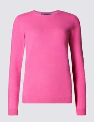 Pure Cashmere Jumper - pattern: plain; style: standard; predominant colour: pink; occasions: casual, creative work; length: standard; fit: slim fit; neckline: crew; fibres: cashmere - 100%; sleeve length: long sleeve; sleeve style: standard; texture group: knits/crochet; pattern type: knitted - fine stitch; pattern size: standard; season: s/s 2015