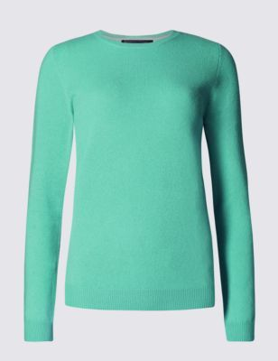 Pure Cashmere Round Neck Jumper - pattern: plain; style: standard; predominant colour: emerald green; occasions: casual, creative work; length: standard; fit: slim fit; neckline: crew; fibres: cashmere - 100%; sleeve length: long sleeve; sleeve style: standard; texture group: knits/crochet; pattern type: knitted - fine stitch; pattern size: standard; season: s/s 2015; wardrobe: highlight