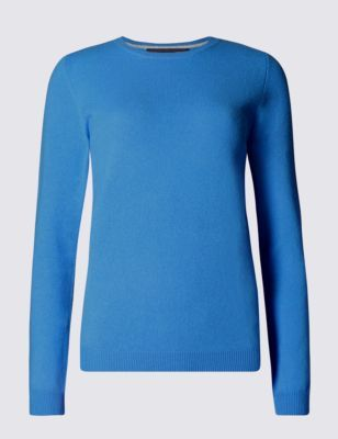 Pure Cashmere Round Neck Jumper - pattern: plain; style: standard; predominant colour: diva blue; occasions: casual, creative work; length: standard; fit: slim fit; neckline: crew; fibres: cashmere - 100%; sleeve length: long sleeve; sleeve style: standard; texture group: knits/crochet; pattern type: knitted - fine stitch; pattern size: standard; season: s/s 2015; wardrobe: highlight