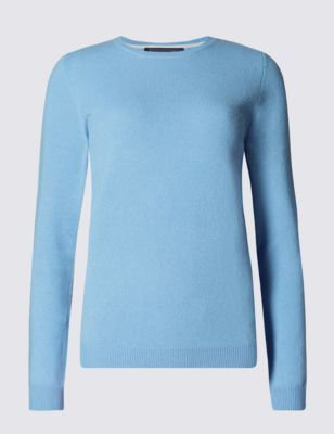 Pure Cashmere Round Neck Jumper - pattern: plain; style: standard; predominant colour: pale blue; occasions: casual, creative work; length: standard; fit: slim fit; neckline: crew; fibres: cashmere - 100%; sleeve length: long sleeve; sleeve style: standard; texture group: knits/crochet; pattern type: knitted - fine stitch; pattern size: standard; season: s/s 2015; wardrobe: highlight